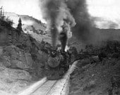 Steam Locomotive Train Old Photograph Collectible Paper Ephemera 8.5x11 Black and White Reprint