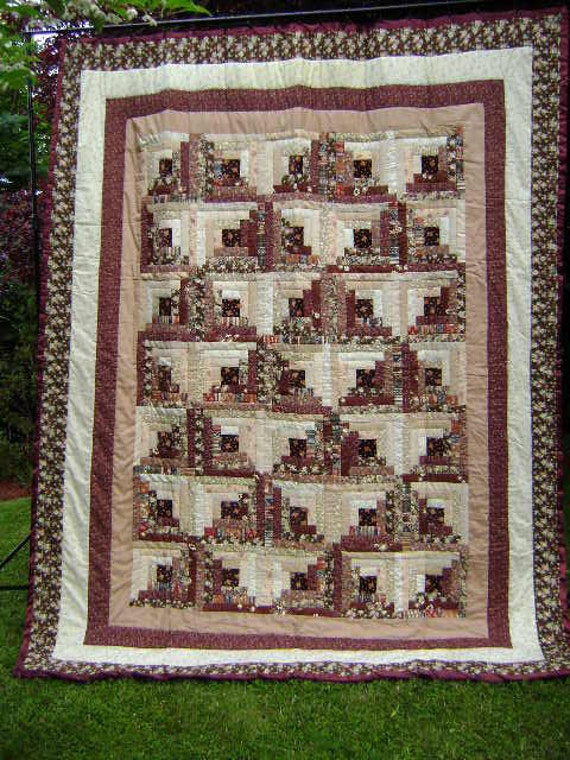 Log Cabin Double or Queen Size QUILT