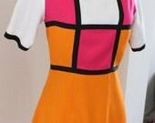 1960's Rare Color BlockRESERVED  Saks Fifth Avenue Made in France Mod Dress