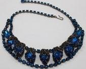 Downton Abbey Art Nouveau 1930's Deep Blue Vintage Rhinestone Gold Filigree Necklace