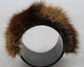 RESERVED 1960's Sexy Go-Go Wide Chocolate Mink Cuff Cocktail Bracelet
