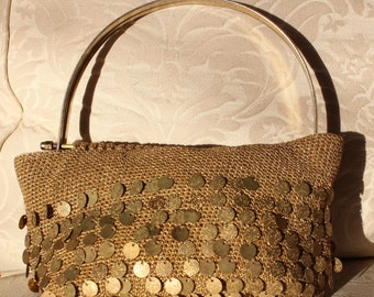 Unique 1940's Vintage Metal Gold Discs Woven Handbag Purse