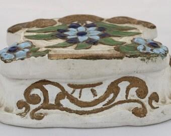 1950's Art Nouveau Style Unique Painted Floral Heavy Vintage Dresser Box