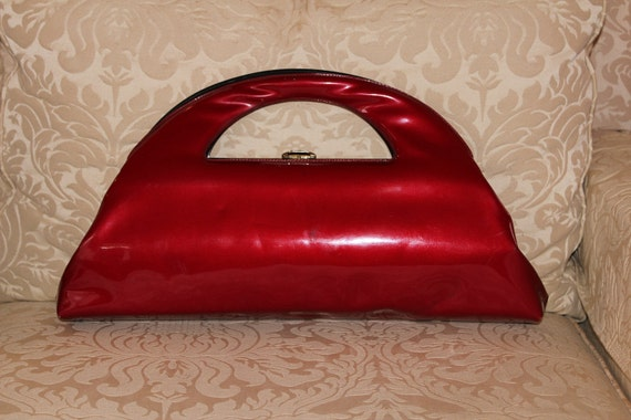 RESERVED Red Patent Structured Vintage Cutout Handle Purse
