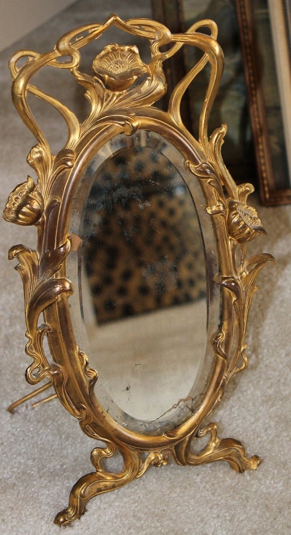 1920's Art Nouveau Heavy Brass Framed Floral Dresser Mirror with Stand