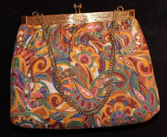 1960s Paisley Gold Sparkly Double Chain Handle Rhinestone Purse Handbag by HL
