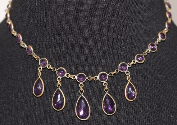 Art Deco French Brass Dangling Faceted Purple Crystal Drop Necklace