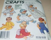 Vintage 1980s McCalls 2862 Crafts Doll Clothes Pattern in 3 sizes Uncut