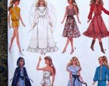 Vintage  1980's Simplicity 8333 Barbie Doll Wardrobe Pattern cut and uncut