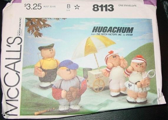 Vintage McCalls 8113 Hugachum sports dolls 17 inch 1980