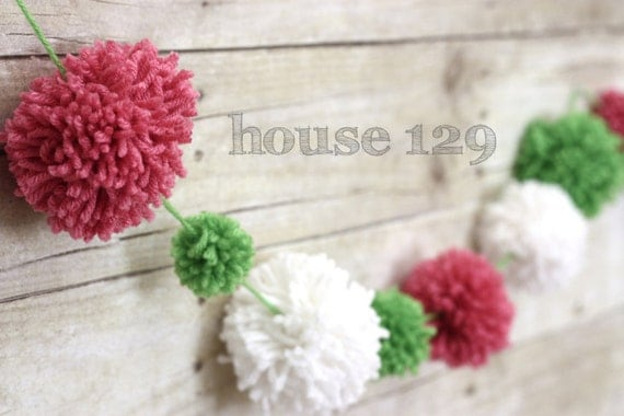 Watermelon Pom Pom Garland (5 FT)