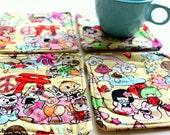 Anime Fabric Coaster Set of 4