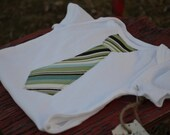 Tie onesie with blue, brown, and green stripes