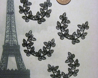 Laser Lace Plated Brass Jewelry or Craft Component, Black, Gold or Silver Butterflies (3)