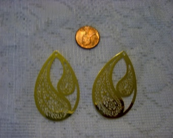 Laser Lace Filigree Findings, Gold Plated (2)