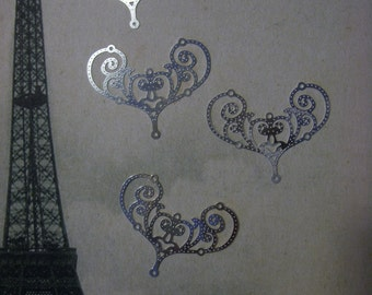 """Plated Brass Filigree Jewelry Finding """"laser lace"""" in Bright Silver (4)"""