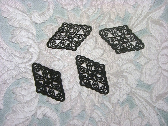 Laser Lace Filigree Plated Brass Component, Black (3)