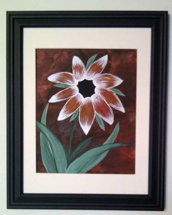 Red and white flower painting, original acrylic painting 9x12