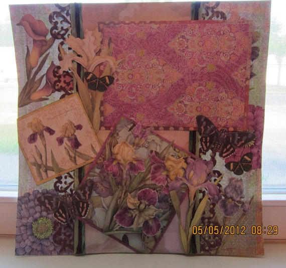 Scrapbooking Blooms of Iris in Shades of Purples Dimensional Mixed Media Art 12 x 12 Layout (Framing/Album). Was 30.00 and now 15.00.