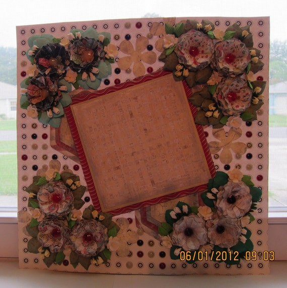 Scrapbooking Dotted to Perfection Mixed Media Art 12 x 12 Layout (Framing) All pages are on SALE at Half Off. Was 25.00 and now 12.50.