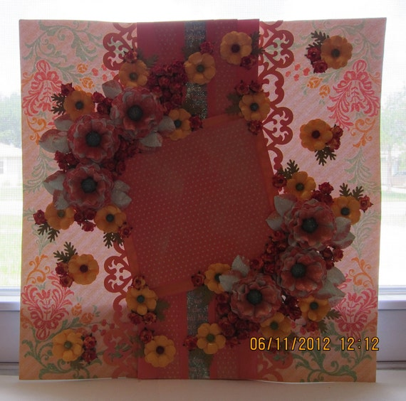 Scrapbooking Polka Dotted in Sunshine Mixed Media Art 12 x 12 Layout (Framing) All pages are on SALE at Half Off. Was 25.00 and now 12.50.