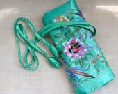 Embroidery Brocade Jewelry  pouch.  Multifunctional jewelry organizer.