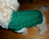 Extra Small Dog Sweater - Winter Green, Hand Knit Cables, Yorkie, Toy Poodle, Toy Dog