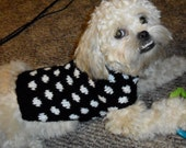 Small Dog Sweater - Black and White Polka Dot