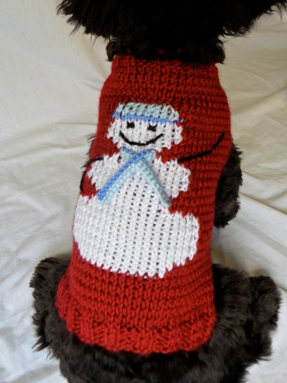 Knitting Patterns Christmas Dog Coats : Christmas Dog Sweater hand knit Happy Snowman size small