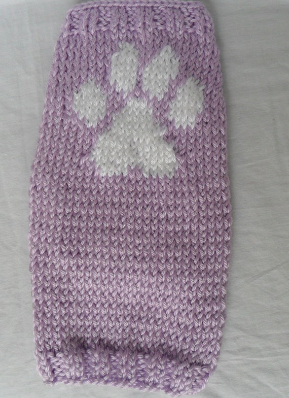 Extra Small Hand Knit Dog Sweater - Purple with paw print, puppy