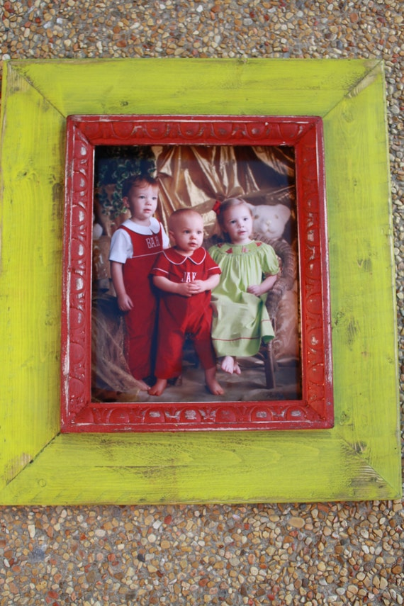 8x10 red and lime green distressed frame