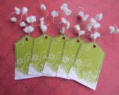 Glittered Green Snowflake Gift Tags (set of 10)