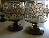 Vintage Smokey Glass Goblets (Set of 7)