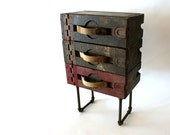 Industrial End Table - Repurposed WWI Antique Ammo Case - army green, military, side table, reuse, upcycle