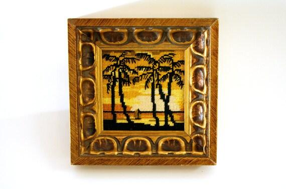 Sunset Beach Needlepoint Art w/ Gold Gilded Frame - rare, retro, vintage, tiki, tropical, palm trees, beach, Hawaii, sailboat,