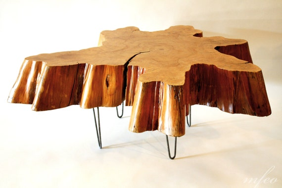 Reclaimed Tree Stump Coffee Table On Vintage Hairpin Legs