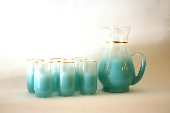 Frosted Aqua Blue Blendo Pitcher & Glasses Set - 7 Pieces