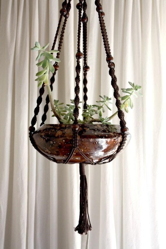 Hanging Macrame & Ceramic Planter in Brown