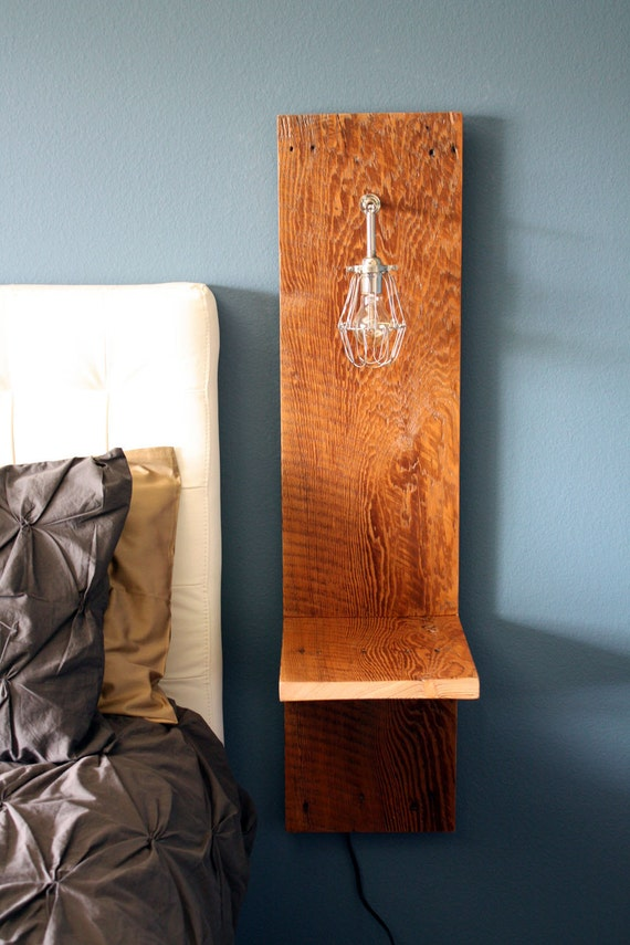 Items similar to wall mounted nighstand reclaimed wood for Wall mounted nightstand diy