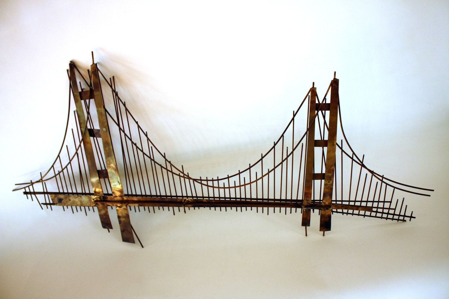 Golden Gate Bridge Metal Wall Sculpture Mid Century By