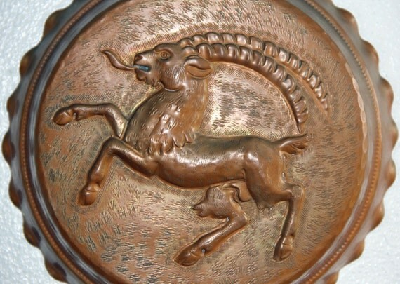 Rare Mythical Beast Ram Mold Old Copper Tin Lined Jello Jelly Kitchen Baking