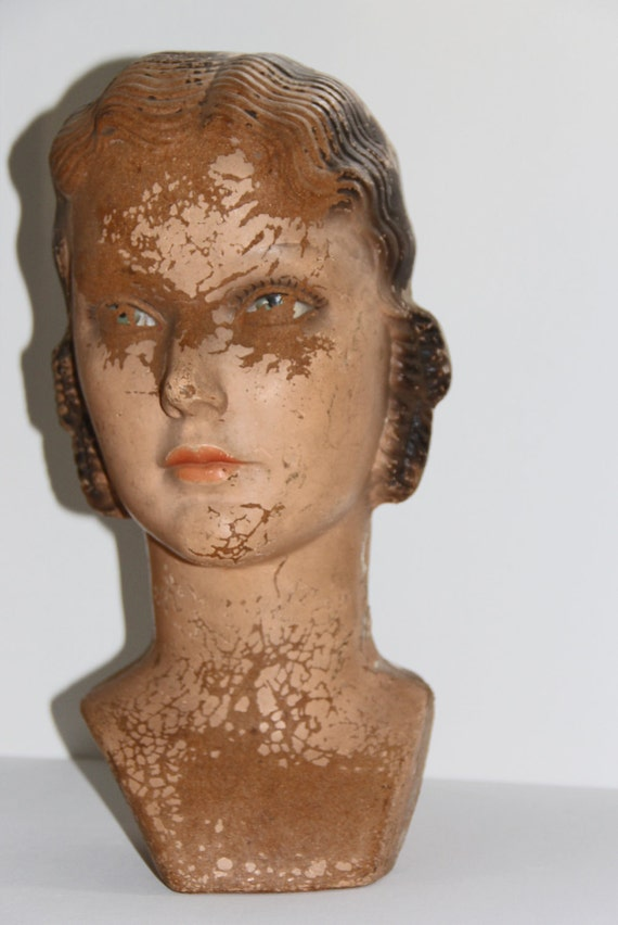 WOW 1920s Mache Composition Mannequine Counter Display Female Head Retail Flapper Art Deco