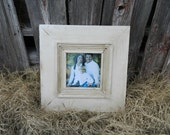 8x8 Distressed Picture Frame with Fluted trim in Simply white and antiqued