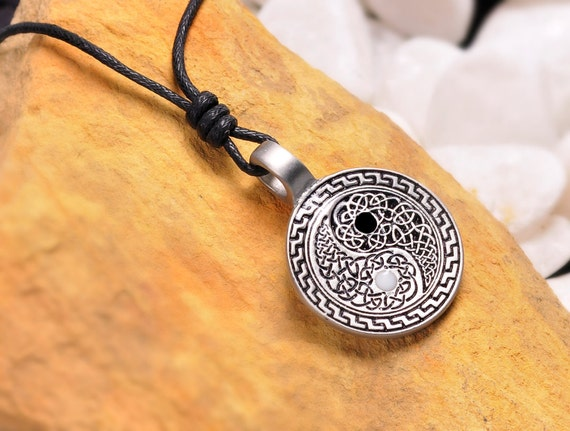 Ying Yang Necklace Pendant with Celtic Tribal Design Feng Shui Jewelry