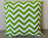 Green Chevron Zig Zag 18 x 18 Pillow Cover