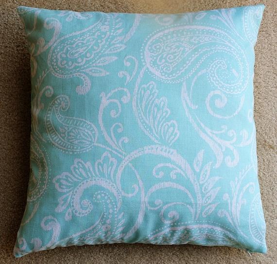 Turquoise / Aqua Paisley Pillow Cover