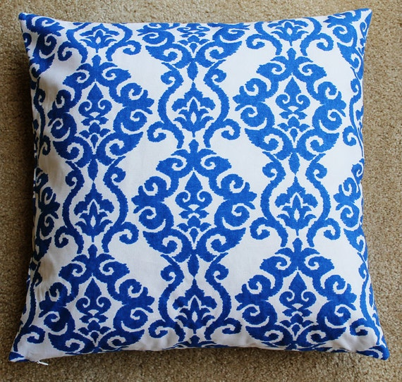 Blue and White Waverly Pillow Cover