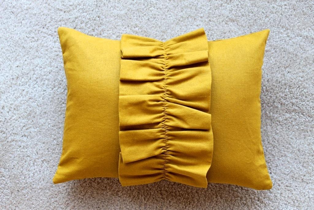 Yellow Ruffle Decorative Pillow : Mustard Yellow Ruffle Pillow Cover