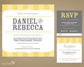 Custom Wedding Invitation Set - Yellow Vintage Stripe (Printable Anywhere) - Invitation, RSVP Card, Reception Card and Save the Date