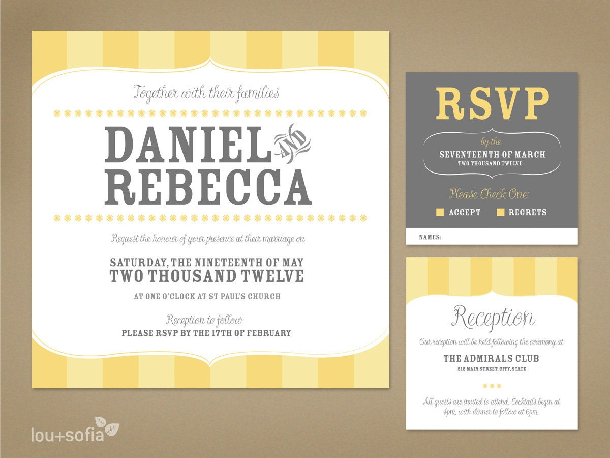 Rsvp To Wedding Invitation Wording: Custom Wedding Invitation Set Yellow Vintage Stripe